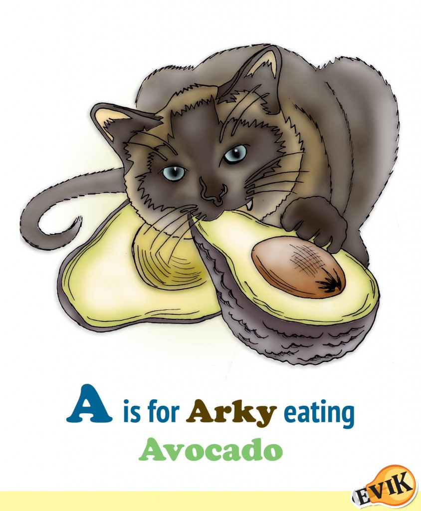 A is for Arky eating Avocado