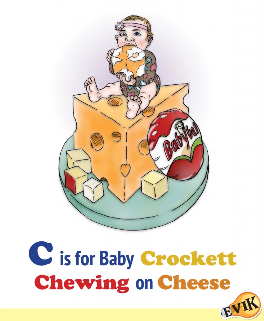 C is for Baby Crockett Chewing on Cheese