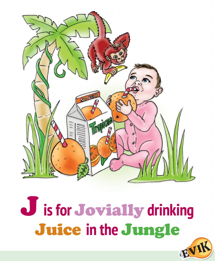 J is for Jovially drinking Juice in the Jungle