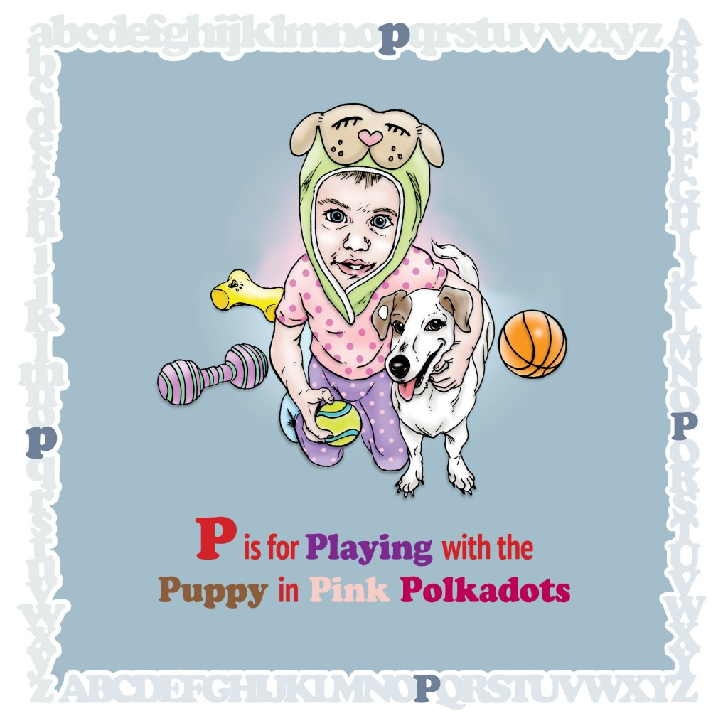 P is for Playing with the Puppy in Pink Polkadots